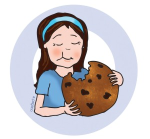 pto today clip art girl eating chocolate chip cookie