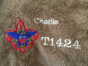 my life such as it is, bsa, boy scouts, camping, towels, machine embroidery, personalization